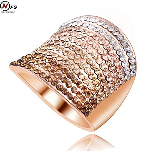 Judith Ripka Sterling Heart (GemMart Jewelry Gradient Austrian Crystal Engagement Rings/Promise Ring Rose Gold Plated Charm Jewelry Ring aneis)