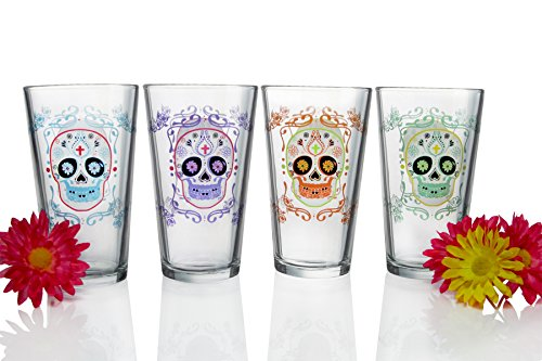 Luminarc Sugar Skulls Assorted Decorated Pub Glasses (Set of 4), 16 oz, Clear