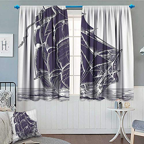 Nautical Window Curtain Drape Old Sail Boat in The Ocean on White Background Pirate Treasure Retro Illustration Decorative Curtains for Living Room 52