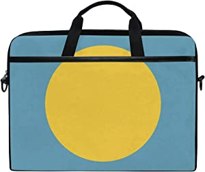 Ainans Palau Flag 15 inch Laptop Case Shoulder Bag Crossbody Briefcase Messenger Sleeve for Women Men Girls Boys