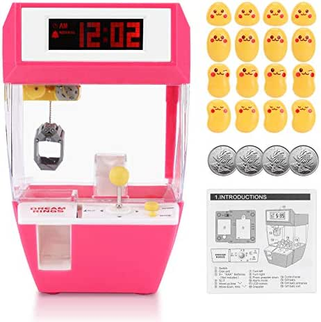 Fdit Claw Toy Grabber, Indoor Arcade Games with Alarm Cloock, Mini Candy Claw Toys Arcade Crane Machine for 1 2 3 4 5 Year Old Boys Girls Best Gift (Red)