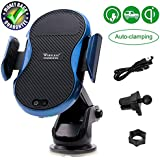 Fast Wireless Car Charger Mount, Automatic Clamping Wireless Charging Pad Infrared Sensing Phone Holder for iPhone X 8 Plus Samsung Galaxy S9 Plus S8 Plus Note 8 5 (Blue)