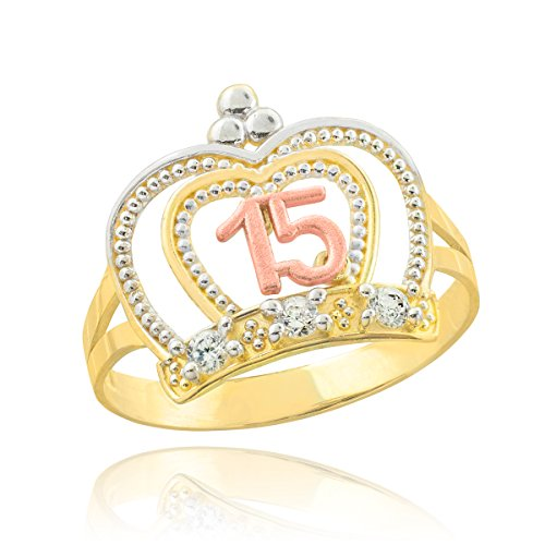 Dainty 14k Tri-Tone Gold Sweet 15 Anos Band Imperial Queen Quinceanera Crown Ring, Size 5 by Quinceanera Jewelry