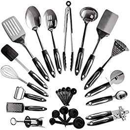 25-Piece Stainless Steel Kitchen Utensil Set | Non-Stick Cooking Gadgets and Tools Kit | Durable Dishwasher-Safe…