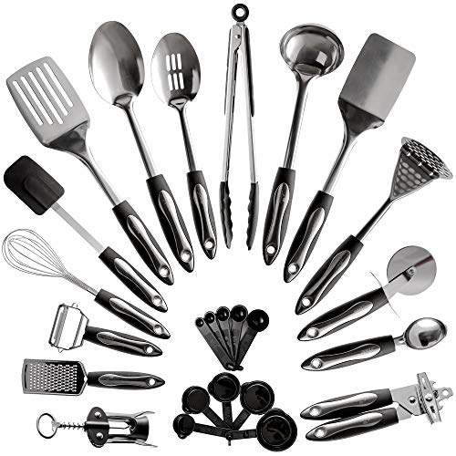 25-Piece Stainless Steel Kitchen Utensil Set | Non-Stick Cooking Gadgets and Tools Kit | Durable Dishwasher-Safe Cookware Set | Kitchenware Gift Idea, Best New Apartment Essentials (Best New Cooking Tools)