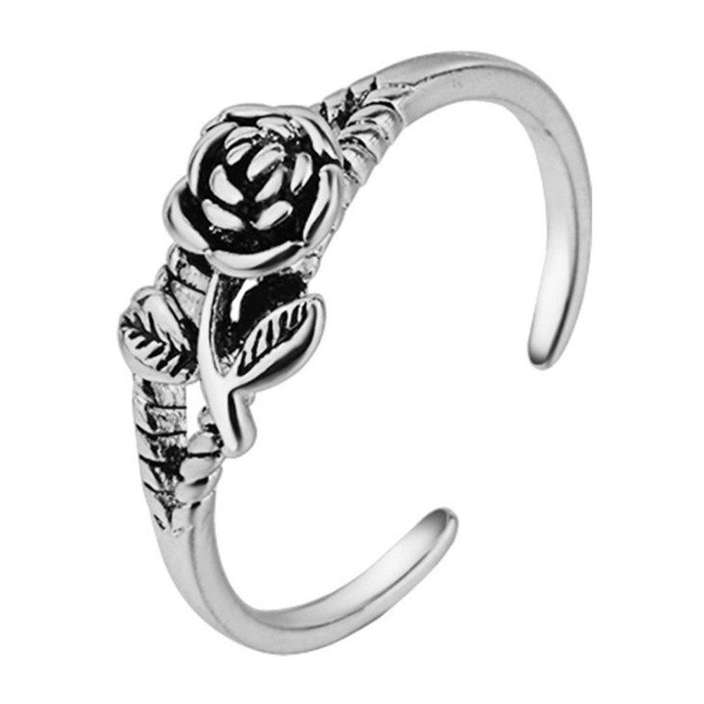 Treestar 1psc Roman Fleur Rose l'index élégant Bague Cristal Anneaux Ouverts Bijoux de mariage pour femme–Il Peut être réglable