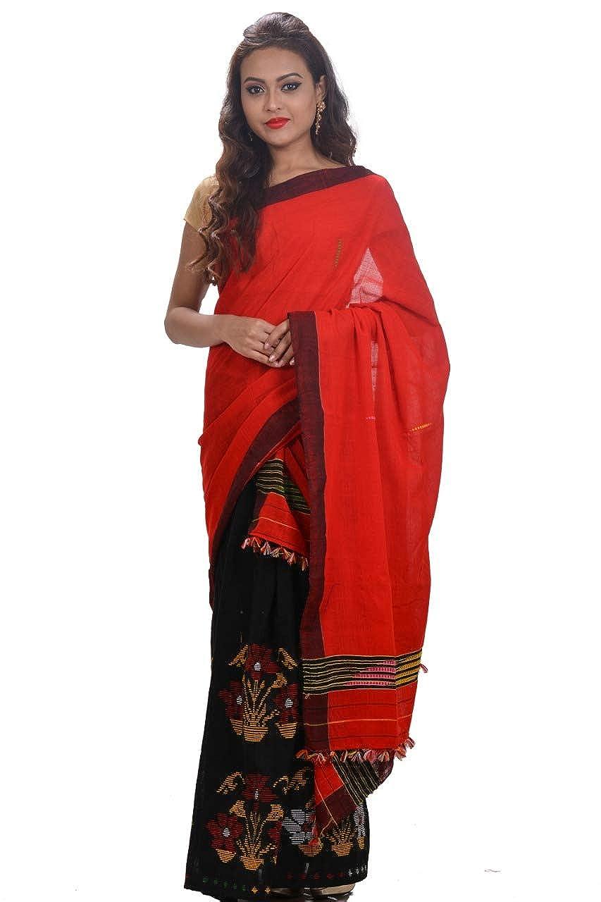Mayuri Silk Palace - Red and Black Assam Cotton Mekhela Chadar