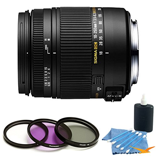 Price comparison product image Sigma 18-250mm F3.5-6.3 DC OS HSM Macro Lens for Nikon AF with Optical Stabilizer includes Bonus Digital Concepts UV,  Polarizer & FLD Deluxe Filter Kit and More