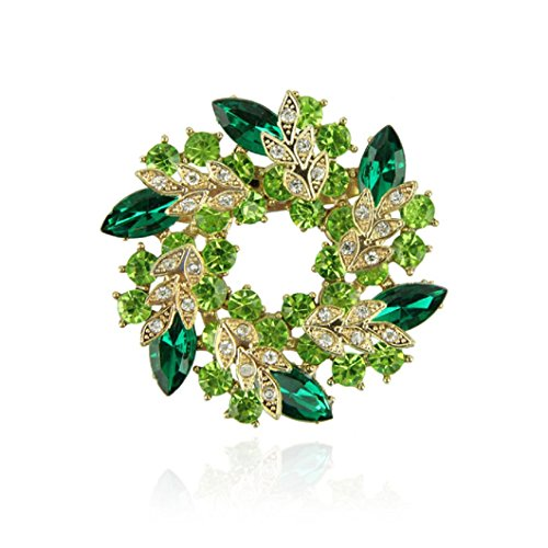 DZT1968 Circle Flower Design Crystal Rhinestone Brooch Pin Jewelry,The Best Gift (Green)