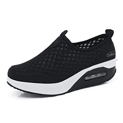 8854c6ca6fc Scurtain Mesh Platform Walking Shoes Comfort Lightweight Slip-on Fitness  Work Out Sneaker Shoes for