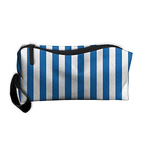 - Blue Stripes Lines Zipper Up Portable Bag Package For Unisex