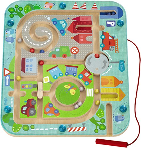 HABA Town Maze Magnetic Game Developmental STEM Activity Encourages Fine Motor Skills & Color Recognition with Roundabout, Roadblock and Fun City Theme -