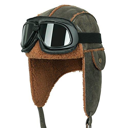 ililily Aviator Hat Winter Snowboard Fur Ear Flaps Trooper Trapper Pilot Goggles, Black Goggle, Olive Green