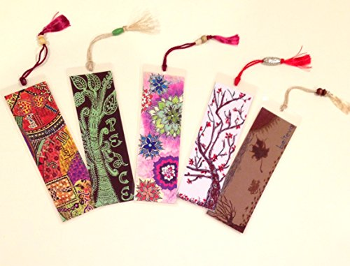 Set of 5 Bookmarks - Inspire & Motivate - Handmade Reading Book Accessories Art Print Laminated with Beaded Silk Tassel Book Reader Gift Party Favor by KalaaWorks - Handmade By Kalaa Kreatika