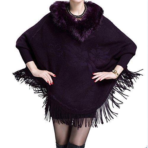 Win8Fong - Abrigo - capa - para mujer morado