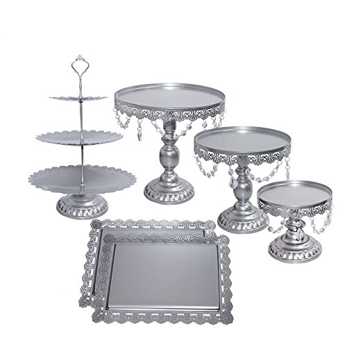 ZXMOTO 6pcs Set Cupcake Stand Classical Metal Dessert Wedding Party Cupcake Holder Cake Tray with Crystal Pendants,Silver