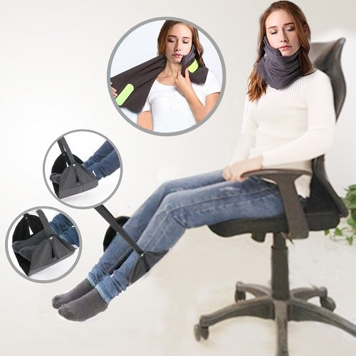 Price comparison product image Portable Travel Foot rest and Travel Pillows For Airplanes Travel Kit With Pedal Travel Neck Support Pillow -Customized Sleep Positions For Neck Support And Foot Hammock Black