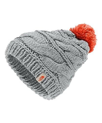 The North Face Women's Triple Cable Pom Beanie - high rise grey/nasturtium