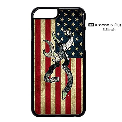 Browning Deer Camo American Flag for iPhone 6/6s Plus Case (Black Plastic) (Browning Cell Phone Cases)