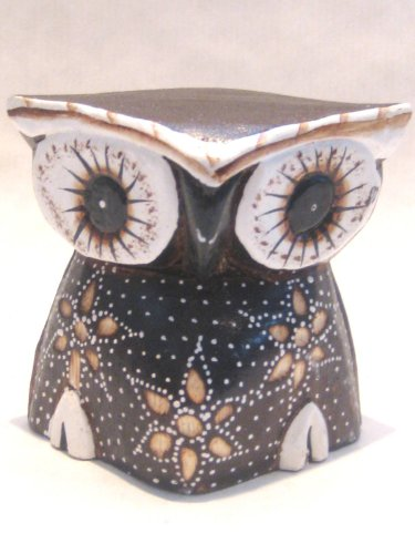 Wooden Owl Hand Carved and Hand Painted Wood Bali Home Decor Sculpture #2827