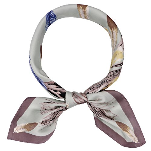 Silk Like Scarf Women's Feather Print Satin Square Neck (Feather Print Scarf)