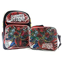 """Saban's Power Ranger Dino Super Charge 16"""" RED School Backpack Plus Lunch Bag"""