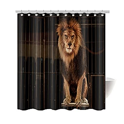 Gwein Animal Collect Lion Shower Curtains Bath Home Decor Of Waterproof Bathroom Polyester Fabric Mildew Resistant