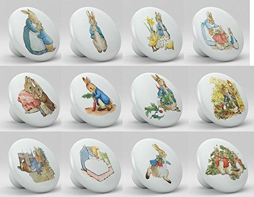 Set of 12 Peter Rabbit Ceramic Drawer Cabinet Knobs Pulls