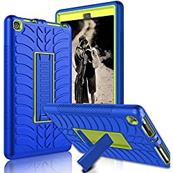 Kindle Fire 8 2017 Case, New Fire HD 8 Case, Zenic Three Layer Heavy Duty Shockproof Full-body Protective Hybrid Case Cover With Kickstand for Kindle Fire 8 2017 / All-New Fire HD 8 (Yellow/Blue-1)