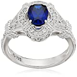 Platinum Plated Sterling Silver Oval Created Sapphire Vintage Style Swarovski Zirconia Accents Ring