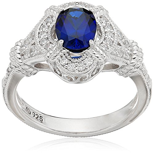 Sapphire Platinum Ring (Platinum Plated Sterling Silver Oval Created Sapphire Vintage Style Swarovski Zirconia Accents Ring, Size 8)