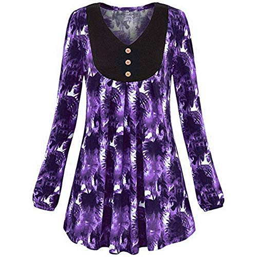 iDWZA Women's Fashion Deep Floral Print O-Neck Skirted Hem Blouse Pullover Tops(4XL,Purple)