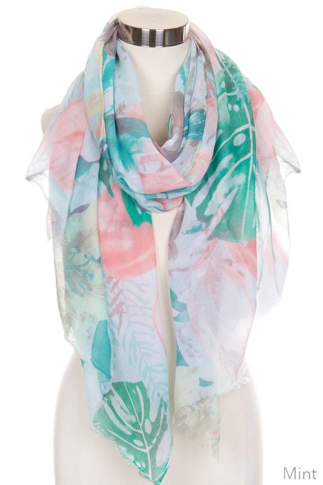 ScarvesMe Women's Colorful Multi Flower Watercolor Cotton Print Scarf Shawl Wrap (Mint)