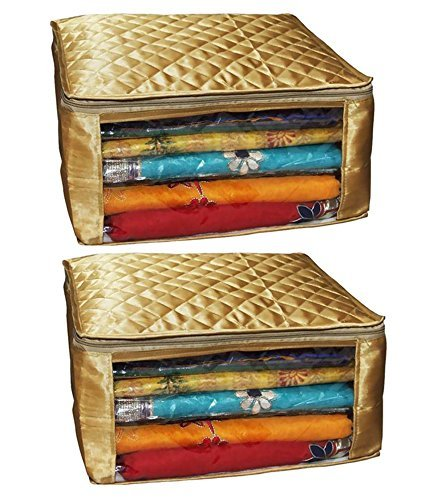 Kuber Industries Saree Cover Set of 2 Pcs Large Size in Golden Satin Wedding Gift (High Garment Quality)