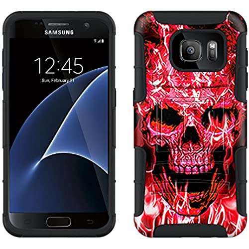 Samsung Galaxy S7 Armor Hybrid Case Flaming Skull Red on Black 2 Piece Case with Holster for Samsung Galaxy S7 Sales