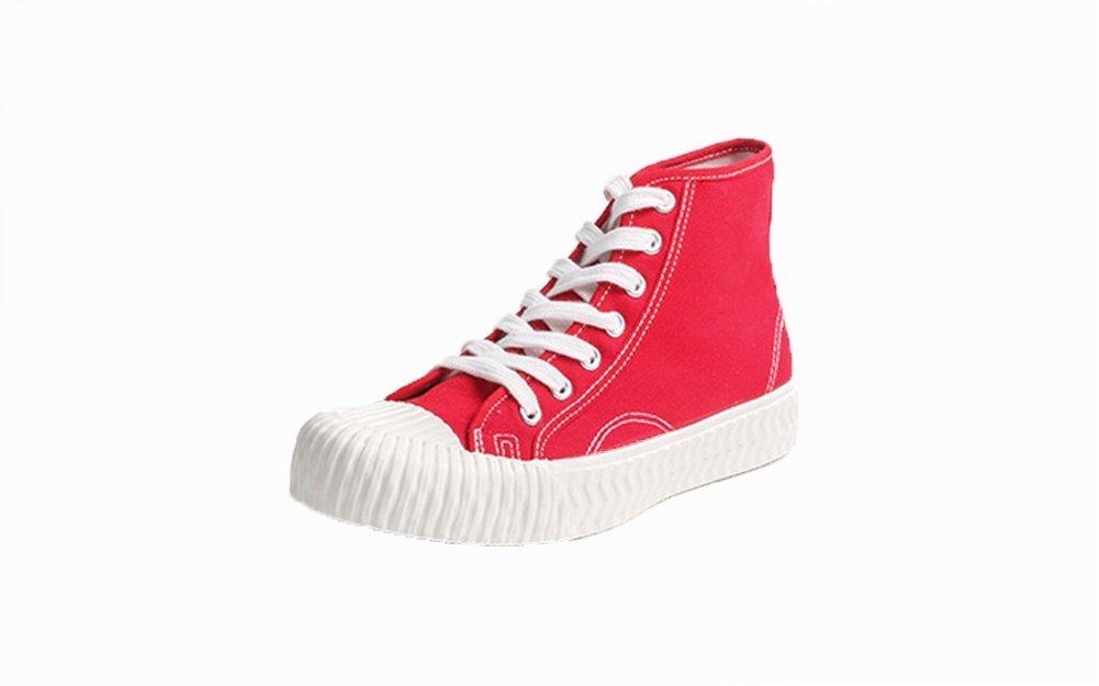 XIE Zapatos de Verano de Primavera y Verano de Las Mujeres Zapatos de Lona Zapatos de Lona de Alta Calidad Joker Zapatos Ocasionales Respirables 35-39, Red, 37 37|Red