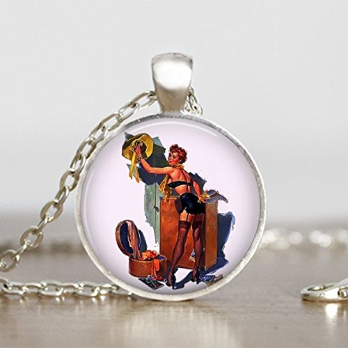 [Sexy Witch Pendant Halloween Necklace Round Handmade Jewelry] (Sexy Halloween Cost)