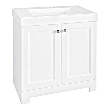 Glacier Bay Shaila 30.5 In. W Bath Vanity In White With Cultured Marble  Vanity Top
