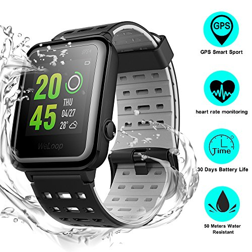 Weloop Hey 3S Smart watch, Multifunction Outdoor IP68 Waterproof Sport Bluetooth GPS Fitness Activity Tracker Smartwatch with Heart Rate Sleep Monitor message remind for iPhone android (Black) by Weloop