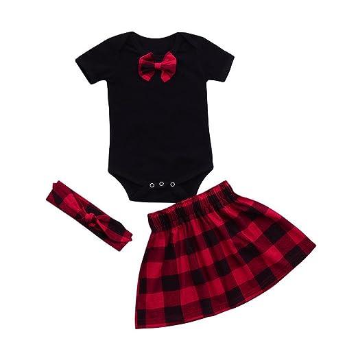 56377881eff92 Amazon.com: LNGRY Newborn Baby Girl Bowknot Romper Tops+Red Plaid ...