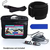 SwimCell Waterproof Case for MP3 Player with Headphone Jack. 3 x 4 inches. Adjustable Running Armband, Lanyard and Silicone Key Cover (Black with HPJ, 3 x 4 inches with Headphone Jack)