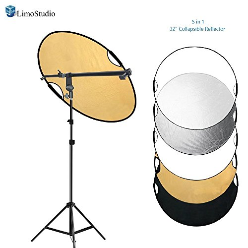 LimoStudio Swivel Head Reflector Support Holder Arm, Boom Stand Arm Bar, Light Stand Tripod with 32 Inch Diameter 5 Color in 1 Round Collapsible Reflector Disc Panel, Hand Held, Photo Studio, AGG2086 (Diameter Panel)
