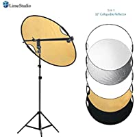 LimoStudio Swivel Head Reflector Support Holder Arm, Boom Stand Arm Bar, Light Stand Tripod with 32 Inch Diameter 5 Color in 1 Round Collapsible Reflector Disc Panel, Hand Held, Photo Studio, AGG2086