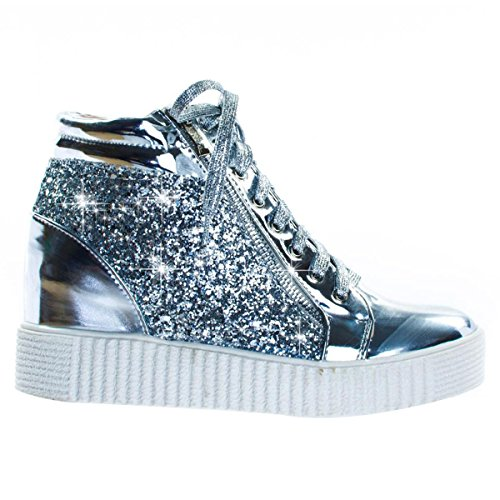 Best Clearance Sale Silver Metallic Lace Up Mid Top Sneaker Glitter Crepe Sole Material Cute Trendy Casual Studded Sketcher Bootie Shoe Gift Idea Under 30 Dollars for Women Teen Girl (Size 7, Silver)