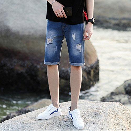 a1425bba2c6 Xinwcang Vaqueros Elasticos Hombre Casual Slim Fit Tejanos Anchos Clasicos  Jeans Rasgados Pantalon Corto Algodon