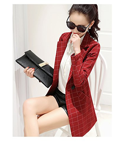 Enlishop Womens Vintage Check Plaid Long Sleeve Casual Long Jacket Blazer, US 10,ASIAN 3XL, Red Photo #2