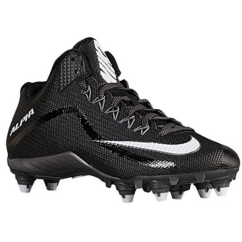 Nike Alpha Pro 2 3/4 D Mens Football Cleat (Black White) (White Nike Cleats Football)
