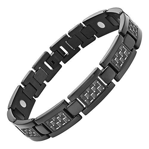 Willis Judd Mens Titanium Magnetic Bracelet With Carbon Fiber with Link Removal Tool, Black