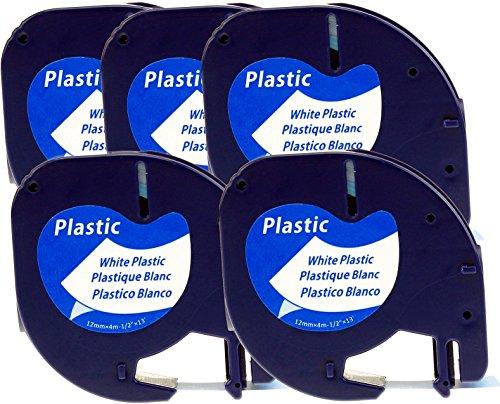 5x Schriftbandkassette für Dymo LetraTag schwarz auf weiß 12mm breit x 4m lang laminiert Kunststoff kompatibel zu Dymo 91221 / S0721660