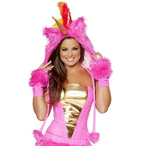 [iHeartRaves Unicorn Rave Spirit Fluffy Furry Hood (Pink)] (J Valentine Unicorn Costume)